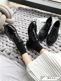 2019春季英倫風平底復古學院風chic單鞋女圓頭系帶黑色ins小皮鞋