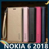 NOKIA 6.1 2018版 Hanman保護套 皮革側翻皮套 隱形磁扣 帶掛繩 支架 插卡 手機套 手機殼 諾基亞