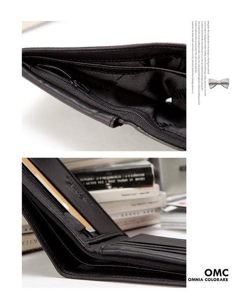 OMC - 柔軟羊皮款真皮8卡1照上下翻短夾