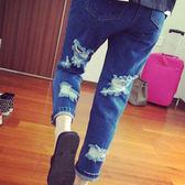 ☆ENTER☆牛仔長褲 割破直筒九分褲藍牛仔長褲【GO4845】