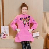 秋冬女裝名媛氣質新款顯瘦羊毛圈圈毛呢粉色刺繡長袖燈籠袖連衣裙洋裝