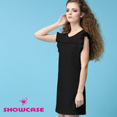 【SHOWCASE】唯美荷葉袖 拼接修身蕾絲洋裝(黑)