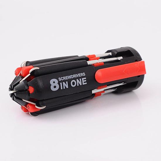 多功能 螺絲起子 LED燈 DIY 折疊式 修理 便攜式 戶外工具 露營 八合一螺絲刀【Y050】米菈生活館