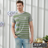 【JEEP】潮男撞色條紋短袖TEE-灰綠