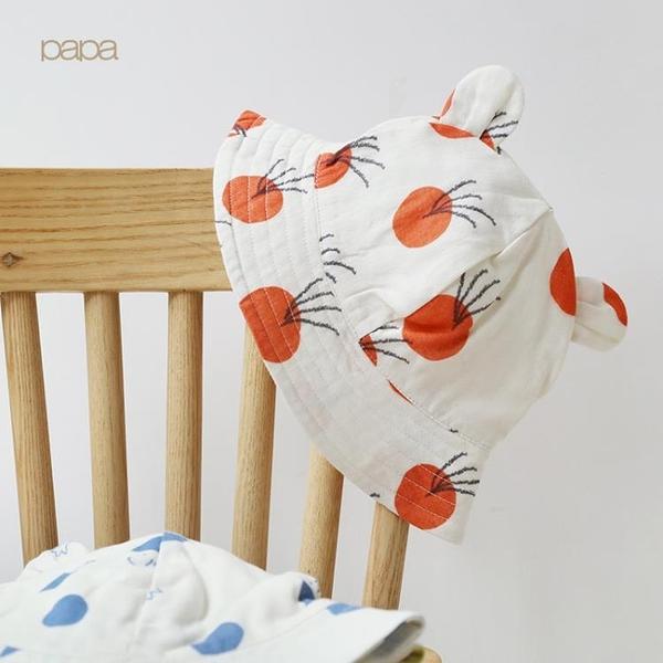 papa爬爬夏季新品棉紗布嬰兒遮陽帽寶寶帽子太陽帽薄帽防曬帽