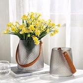 花瓶系列 輕奢手提玻璃花瓶現代簡約水培鮮花插花瓶創意家居裝飾品客廳擺件 幸福第一站