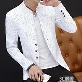 西裝外套 男士印花小西裝男韓版修身立領中山裝休閒西服薄外套青年帥氣褂子 3C優購