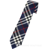 BURBERRY Vintage 現代剪裁格紋絲質領帶(海軍藍) 1840473-34