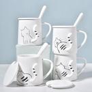 立體翹尾貓咪馬克杯卡通陶瓷杯情侶水杯帶蓋勺家用杯牛奶杯【輕奢時代】