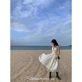 三亞旅遊穿搭拍照衣服女出遊超仙沙灘裙海邊度假白色吊帶連身裙夏【快速出貨】