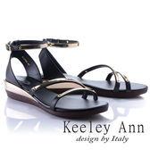 ★2018春夏★Keeley Ann美感時尚~流線質感腳踝帶楔形涼鞋(黑色)