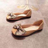 豆豆鞋夏季方頭平底單鞋女淺口平跟蝴蝶結豆豆鞋軟底軟皮杏色工作鞋黑色 宜品居家館