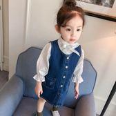 女寶寶裙子春裝2018款兒童牛仔背帶裙嬰兒童裝女童洋裝1-2-3歲4 交換聖誕禮物