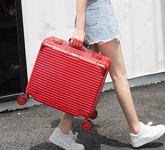 拉桿箱女18寸16寸商務出差迷你行李箱男小型登機箱鋁框密碼旅行箱  百搭潮品
