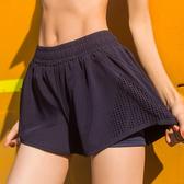 網孔運動短褲女跑步夏外穿防走光健身速幹寬鬆訓練瑜伽三分熱褲薄