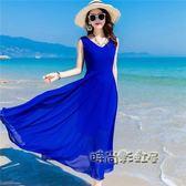 波西米亞長裙沙灘裙女夏2018新款海邊度假裙大擺型雪紡連身裙「時尚彩虹屋」