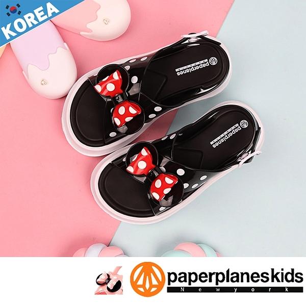 PAPERPLANES紙飛機 童鞋 韓國空運 可愛風 點點蝴蝶結 可調整鞋帶 釦子式涼鞋【B7905059】黑色