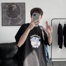 七分袖半袖2021網紅t恤男短袖ins超火港風痞帥5分袖上衣夏季寬松