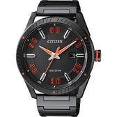 CITIZEN 星辰 光動能渦輪時尚腕錶/手錶-黑x橘時標/42mm BM6998-88E