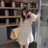 韓版新款V領收腰顯瘦連身裙性感氣質仙女蛋糕短裙秋