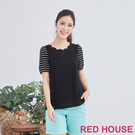 【RED HOUSE 蕾赫斯】條紋袖花邊領Tee(黑色)
