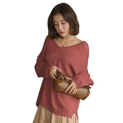 東京著衣-好感度大V領側開岔後交叉針織上衣(182095)