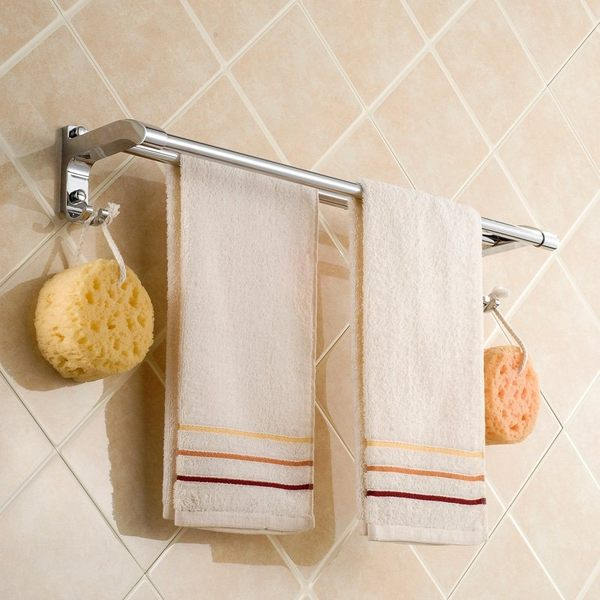 小熊居家不銹鋼雙桿毛巾架 加厚帶鉤毛巾桿 浴室五金衛浴掛件新款特價