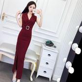 連衣裙女夏2018新款韓版名媛氣質西裝領無袖修身顯瘦開叉長裙禮服