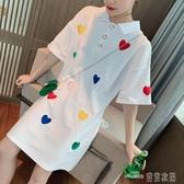 當當衣閣- 新款夏女網紅t恤裙愛心刺繡寬鬆 polo襯衫裙中長款連衣裙