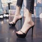 高跟拖鞋 超高跟涼拖恨天高女夏拖鞋外穿時尚性感走秀12cm細跟防水臺一字拖