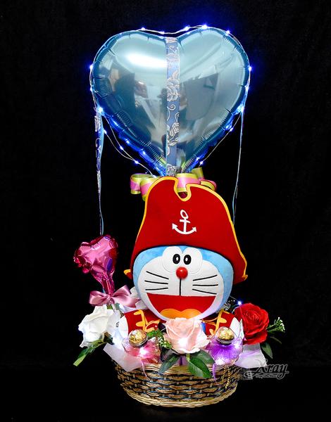 12吋哆啦A夢海盜船長幸福熱氣球,情人節禮物/熱氣球/金莎花束/亮燈花束,節慶王【Y030012】