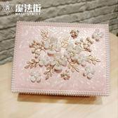 新品首飾盒公主歐式宮廷珍珠帶鎖木質簡約可愛飾品收納盒 魔法街