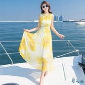 海邊度假顯瘦沙灘裙子波西米亞超仙女長裙2020新款夏季雪紡連身裙 FX8025