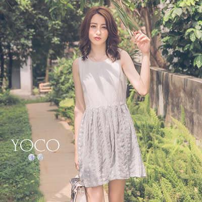 東京著衣【YOCO】小清新女孩刺繡無袖雪紡洋裝-XS.S.M(6016853)