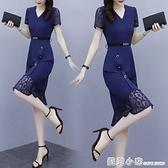 魚尾裙 2020年新款女裝夏裝職業時尚氣質女人味顯瘦蕾絲拼接魚尾洋裝子 蘇菲小店