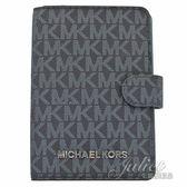 茱麗葉精品 全新精品 MICHAEL KORS Jet Set 滿版小LOGO PVC護照夾.深藍