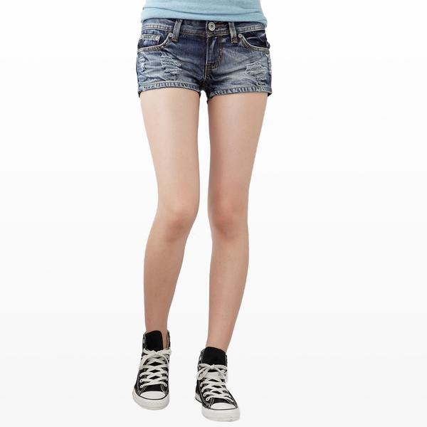 牛仔短褲--俏麗性感藍色系勻染刷破兩分牛仔超短褲(S-7L)-R34眼圈熊中大尺碼