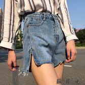 側開叉寬腿褲流蘇邊牛仔短褲