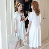 棉質孕婦洋裝夏韓版寬鬆短袖休閒中長款連身裙 nm1763 【Pink中大尺碼】