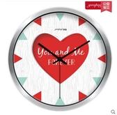 小鄧子創意個性客廳靜音石英鐘錶 家居裝飾 浪漫婚禮臥室掛鐘(12英寸)