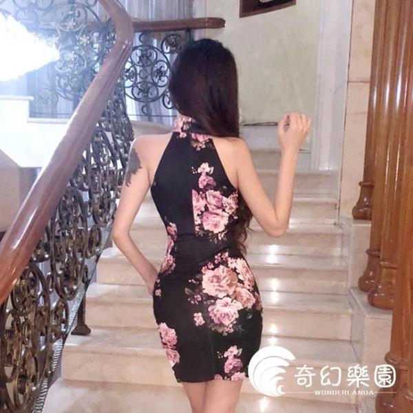 旗袍-夏季女裝主播新品性感小香風復古印花改良式小女人花朵連衣裙旗袍-奇幻樂園