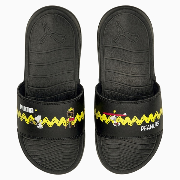 PUMA x PEANUTS Popcat 20 童鞋 中童 拖鞋 休閒 史努比 聯名 輕量 黑【運動世界】37582601