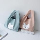 帆布包 女學生手提袋風可愛小熊飯盒便當包帆布包 日式套結手機手腕袋-Ballet朵朵