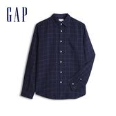 Gap 男裝 清爽格紋翻領長袖襯衫 548296-海軍藍印花