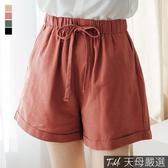 【天母嚴選】抽繩綁帶棉麻反摺短褲M-L(共四色)