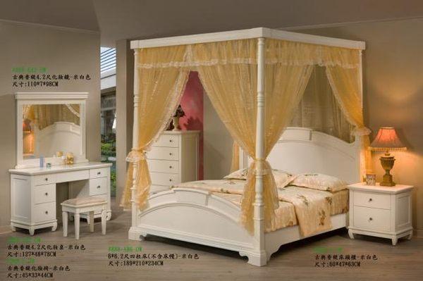 8號店鋪  全實木鄉村風係列 5尺公主床888 米白色 訂製傢俱~客製化全實木傢俱~~工廠直營
