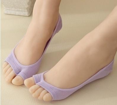 [協貿國際]淺口魚嘴襪露指襪女純棉船襪隱形襪矽膠防滑女士短襪薄款襪子2雙入