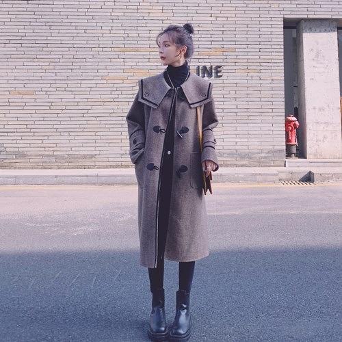 毛呢外套-牛角扣海軍領保暖羊毛長版女大衣73yx48【時尚巴黎】