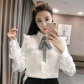 春季韓版領長袖蕾絲花邊拼接襯衫女純色單排扣襯衣上衣潮 汪喵百貨