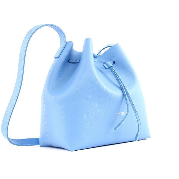 【LANCASTER】防刮牛皮側背水桶包(大)(天空藍) 422-19 BLEU CIEL
